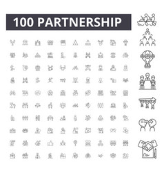 partnership line icons signs set outline vector image