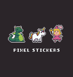 Pixel art stickers vector