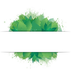 Postcard with green leaves watercolor spray and vector