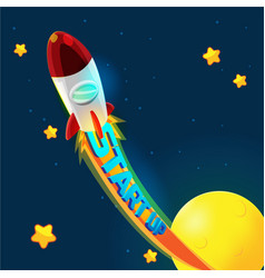 red rocket business space fly vector image