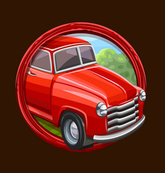 Red truck icon in frame vector