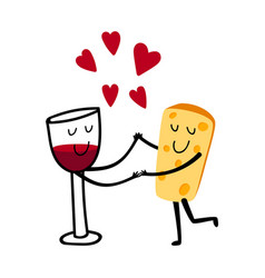 red wine and cheese characters vector image