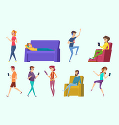 relaxing characters peoples listening music in vector image
