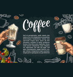 Restaurant or cafe menu coffee drinck with price vector