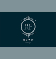 rf r f blue decorative monogram alphabet letter vector image