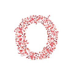 Romantic floral letter O vector