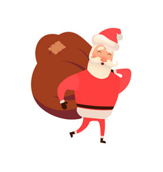 santa claus with a bag on vector image