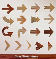 set arrows wooden vector image