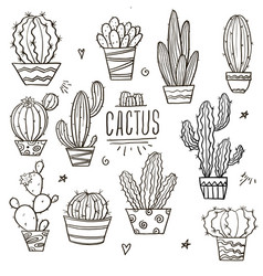 set doodle cacti vector image