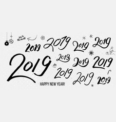 set of black typographic hand drawn vintage 2019 vector image