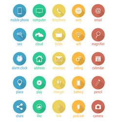 set of flat round icons vector image