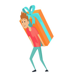 Shopping man character with large gift box in his vector