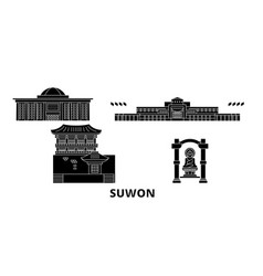 South korea suwon flat travel skyline set south vector