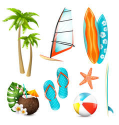 Summer surf vacation items set vector