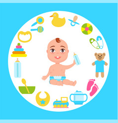 Toddler infant in diaper with milk bottle at frame vector