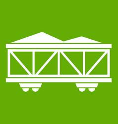 train cargo wagon icon green vector image