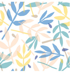 twigs and leaves hand drawn seamless vector image
