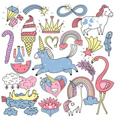 unicorn fairy elements doodle set vector image
