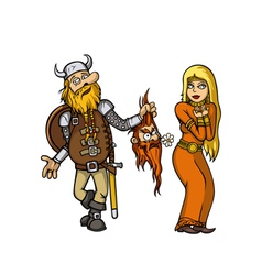 viking in love vector image