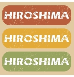 Vintage Hiroshima stamp set vector