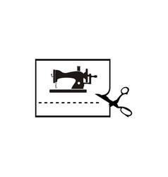 vintage sewing machine logo vector image