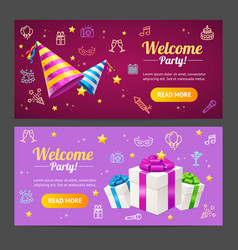 welcome party template card horizontal set vector image