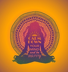 Woman Sitting In Yoga Lotus Pose And Mandala vector image