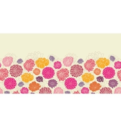 Colorful abstract flowers horizontal seamless vector image