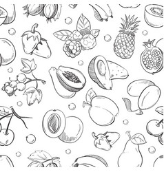 healthy fruit hand drawn seamless texture vector image vector image