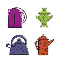 kettle icon set color outline style vector image