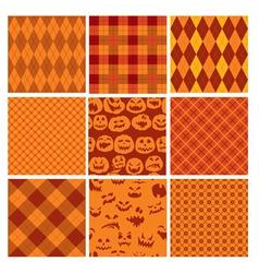 Set of Halloween plaid seamless patterns in orange vector image vector image