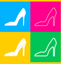 woman shoe sign four styles of icon on four color vector image vector image