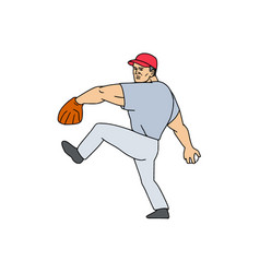 baseball player pitcher ready to throw ball vector image