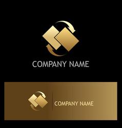 data transfer arrow gold logo vector image