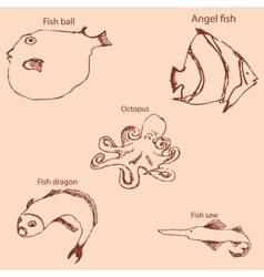 Marine inhabitants with names Pencil sketch by vector image