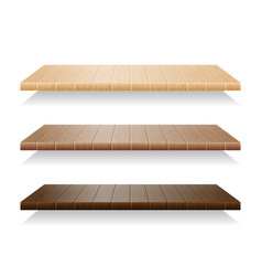 set of wood shelves on white background vector image vector image