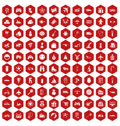 100 toys for kids icons hexagon red vector image