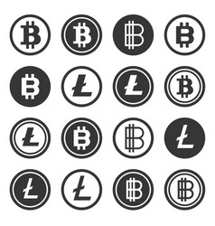 bitcoin and litecoin crypto currency icons set vector image vector image