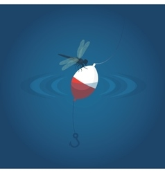 dragonfly to float in the water with a hook vector image