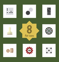 flat icon games set of chequer lottery pawn and vector image