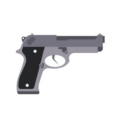 gun isolated silhouette pistol white weapon icon vector image