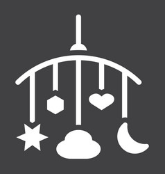 Hanging toys solid icon baby crib toys vector