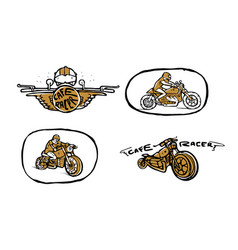 Moto biker theme icon set cafe racer vector