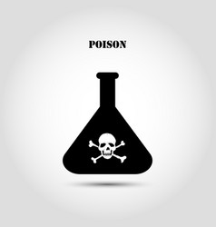 stock flat icon chemical flask with a skull and vector image vector image