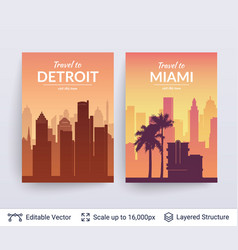 miami and detroit famous city scapes vector image