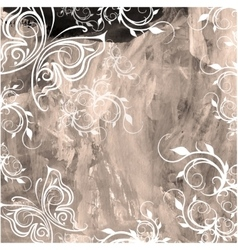 Old watercolor grunge background with floral vector image
