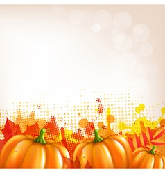 Orange Autumn Leafs And Pumkins Border vector image vector image