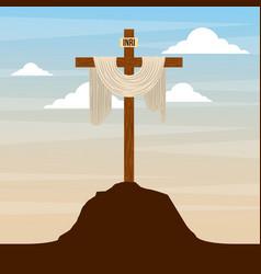 sacred cross in hill sky catholic religion design vector image