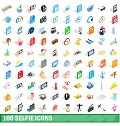 100 selfie icons set isometric 3d style vector