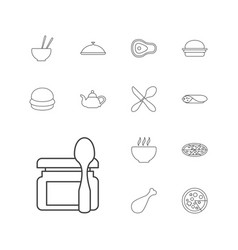 13 lunch icons vector